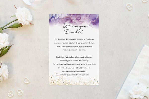 Dankeskarten zur Hochzeit Batik Gold gepunktet Dankeskarten