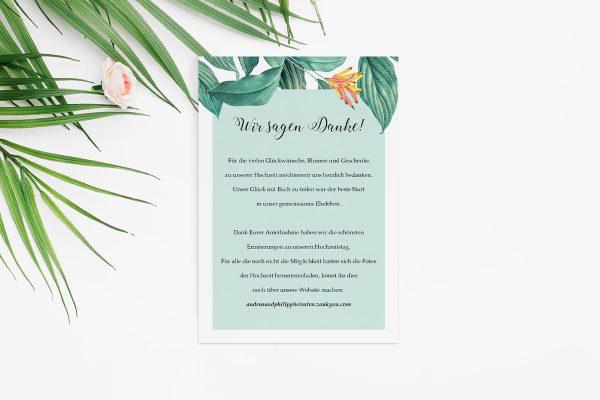 Dankeskarten zur Hochzeit Tropical Aechmea Dankeskarten