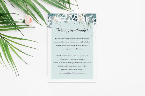 Dankeskarten zur Hochzeit Tropical Eukalyptus Dankeskarten
