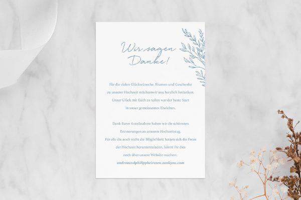 Dankeskarten zur Hochzeit Rosenpracht mit Gräsern Dankeskarten