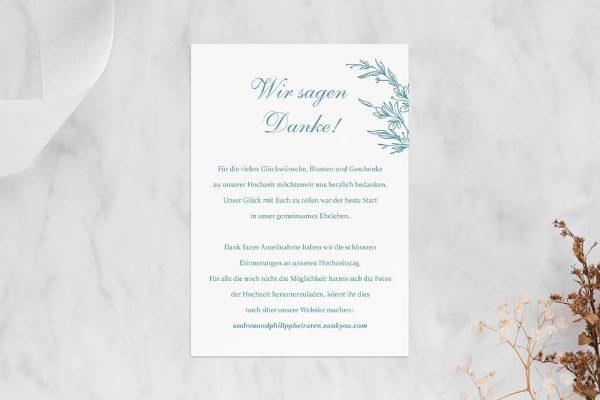 Dankeskarten zur Hochzeit Rosenpracht mit Ehrenkranz Dankeskarten