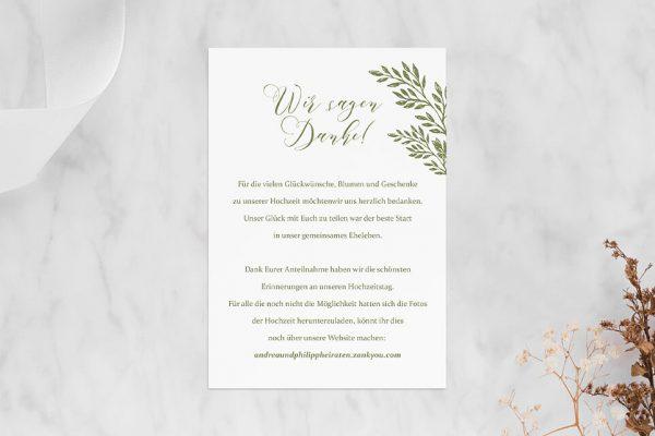 Dankeskarten zur Hochzeit Rosenpracht gleichmäßig Dankeskarten