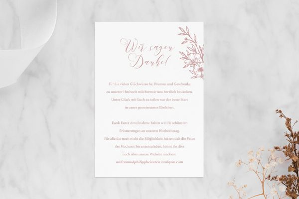 Dankeskarten zur Hochzeit Rosenpracht mit Korn Dankeskarten