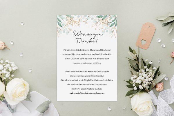 Dankeskarten zur Hochzeit Minimalistischer Kranz Wiesengrün Dankeskarten
