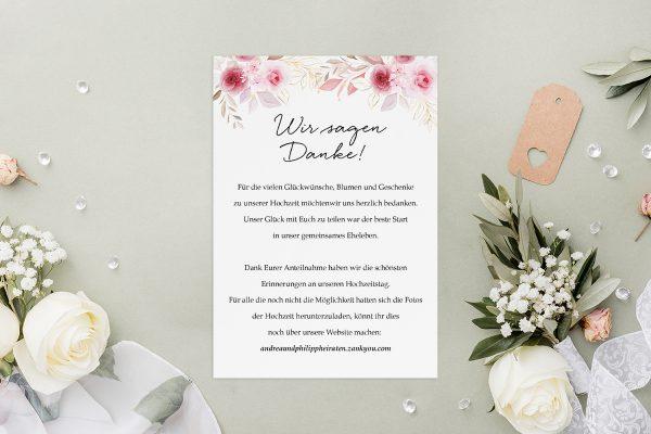 Dankeskarten zur Hochzeit Minimalistischer Kranz Zart Rosa Dankeskarten