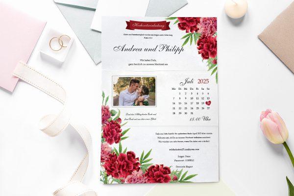 Einladungskarten mit Fotos Hochzeitseinladungen Blumenherz Nelken