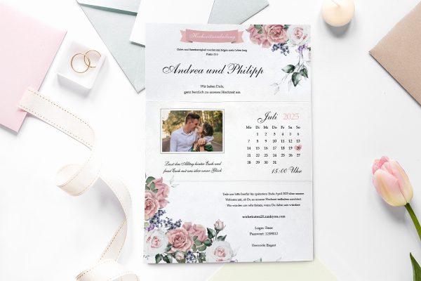 Einladungskarten mit Fotos Hochzeitseinladungen Blumenherz Wohlriechend
