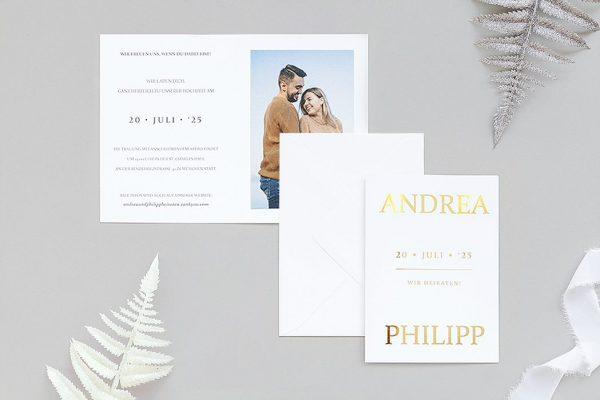 Einladungskarten mit Fotos Hochzeitseinladungen Prachtvoll stilistisch