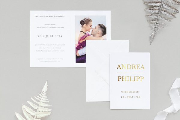 Einladungskarten mit Fotos Hochzeitseinladungen Prachtvoll ungezwungen