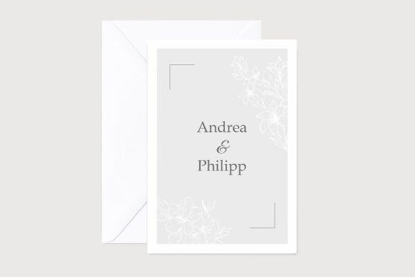Hochzeitseinladungen Hochzeitseinladungen Romantic Flowers  Grey flower