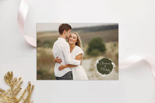 Einladungskarten mit Fotos Hochzeitseinladungen Runde Sache duftend