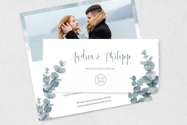 Einladungskarten mit Fotos Hochzeitseinladungen Eukalyptus dunkel