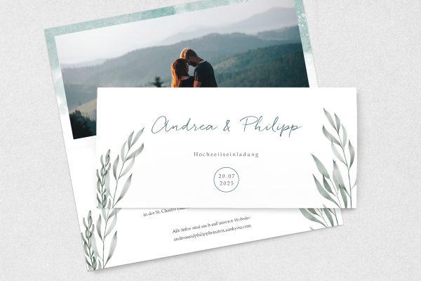 Einladungskarten mit Fotos Hochzeitseinladungen Palmen verträumt