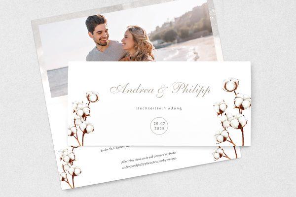Einladungskarten mit Fotos Hochzeitseinladungen Palmen weich