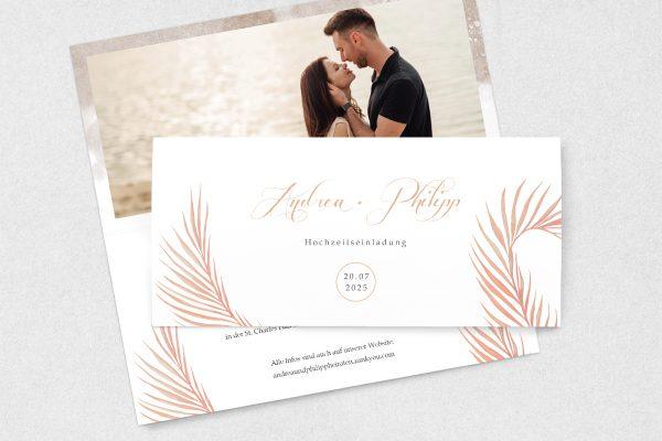 Einladungskarten mit Fotos Hochzeitseinladungen Palmen fernöstlich