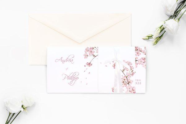 Einladungskarten mit Fotos Hochzeitseinladungen Zeichnung Kirschblüte