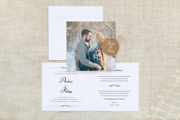 Einladungskarten mit Fotos Hochzeitseinladungen Fotoglück Fotoglück Blättchen