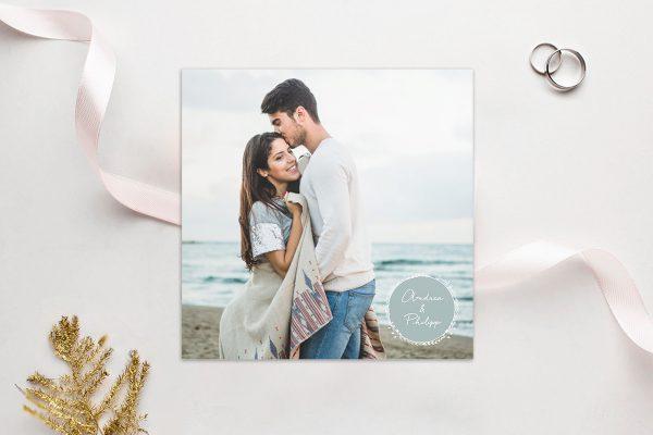Einladungskarten mit Fotos Hochzeitseinladungen Aufnahme mit Blümchenkranz