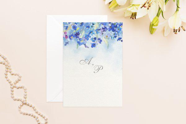 Hochzeitseinladungen Hochzeitseinladungen Aquarell Blaue Blumen