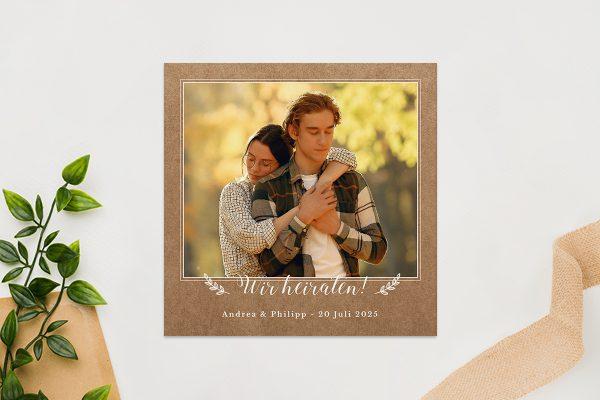 Einladungskarten mit Fotos Hochzeitseinladungen Country Bast Ländlich