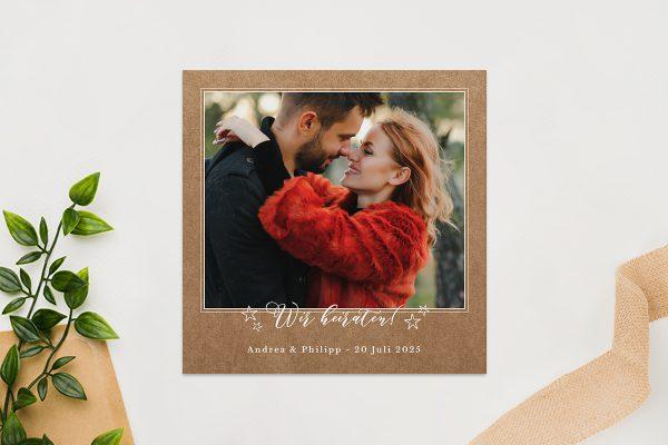Einladungskarten mit Fotos Hochzeitseinladungen Country Bast Strahlend