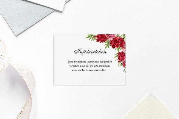 Extras Blumenherz Nelken Hochzeitsinfokärtchen