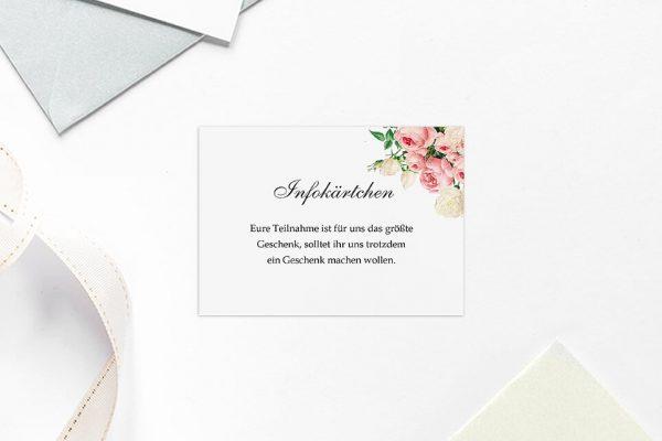 Extras Blumenherz Aromatisch Hochzeitsinfokärtchen