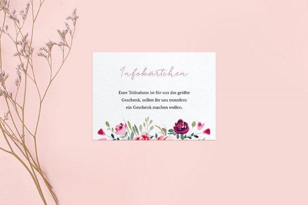 Extras Blumenbeet Luftig Hochzeitsinfokärtchen