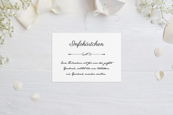 Extras Klassich Unendlich Hochzeitsinfokärtchen