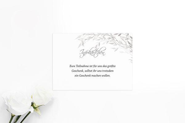 Extras Zeichnung Schwarz und Weiß Hochzeitsinfokärtchen