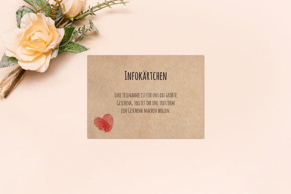 Extras Fingerabdruck Liebeserklärung Hochzeitsinfokärtchen