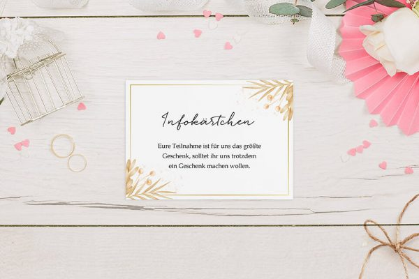Extras Floral Elegant Traditionell Hochzeitsinfokärtchen