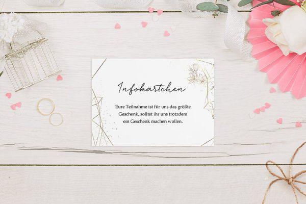 Extras Floral Elegant Blütenrahmen Hochzeitsinfokärtchen