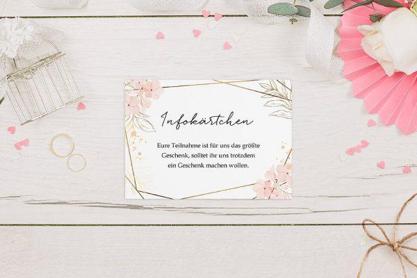 Extras Floral Elegant Blumenzeichnung Hochzeitsinfokärtchen