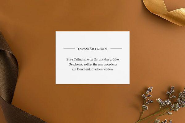 Extras Modern Monogramm mittig Hochzeitsinfokärtchen