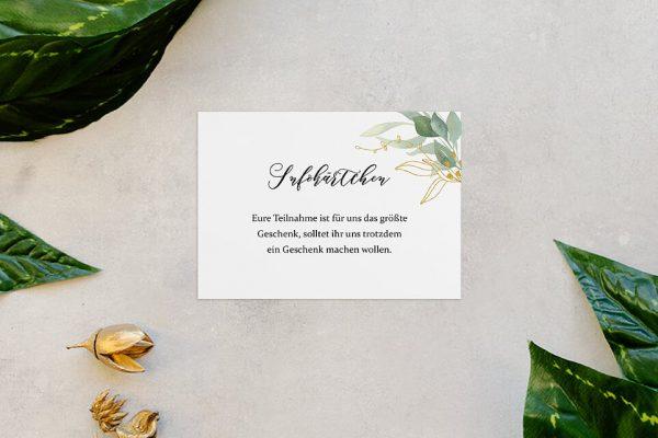 Extras Greenery Golden Hochzeitsinfokärtchen