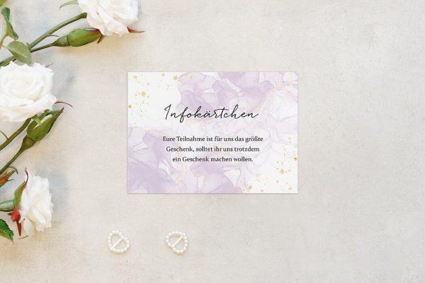 Extras Batik Veilchenblau Hochzeitsinfokärtchen