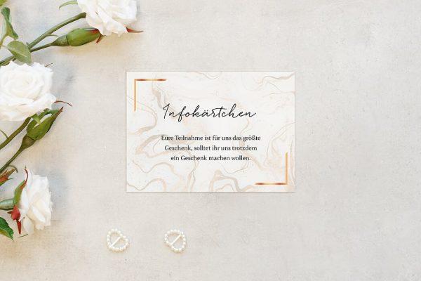 Extras Batik Marmor Hochzeitsinfokärtchen