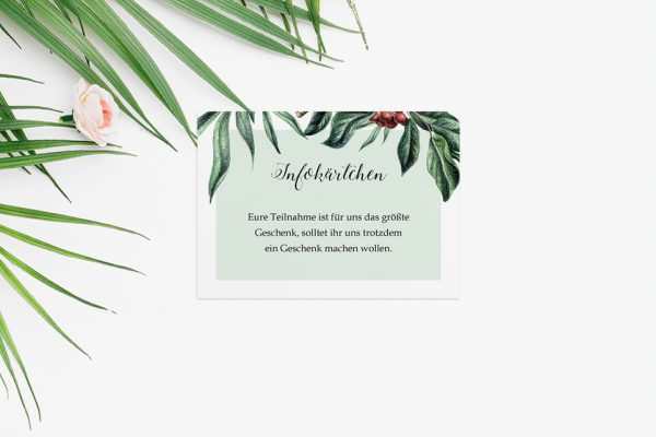 Extras Tropical Sorbus aucuparia Hochzeitsinfokärtchen
