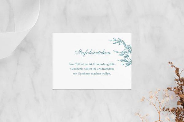 Extras Rosenpracht mit Ehrenkranz Hochzeitsinfokärtchen