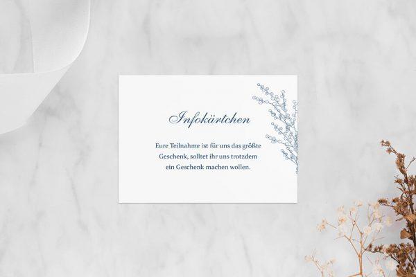 Extras Rosenpracht mit Tannenzapfen Hochzeitsinfokärtchen
