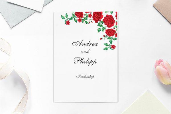 Extras Blumenherz Rote Rosen Kirchenheft Hochzeit