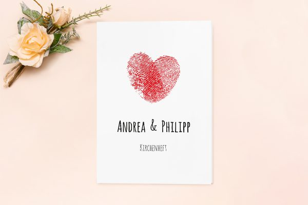 Extras Fingerabdruck Liebeserklärung Kirchenheft Hochzeit