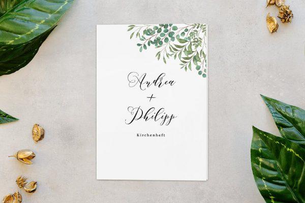 Extras Greenery Verspielt Kirchenheft Hochzeit