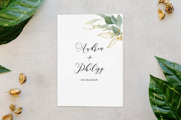 Extras Greenery Golden Kirchenheft Hochzeit