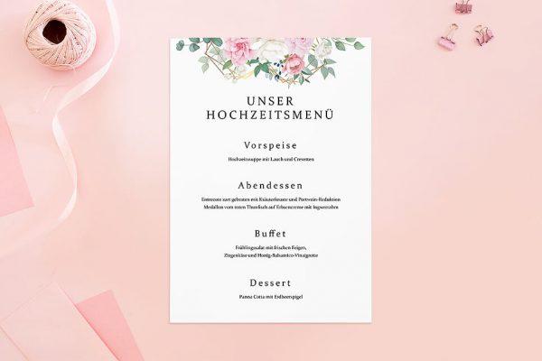 Extras Rosenpracht Gerahmt Menükarten
