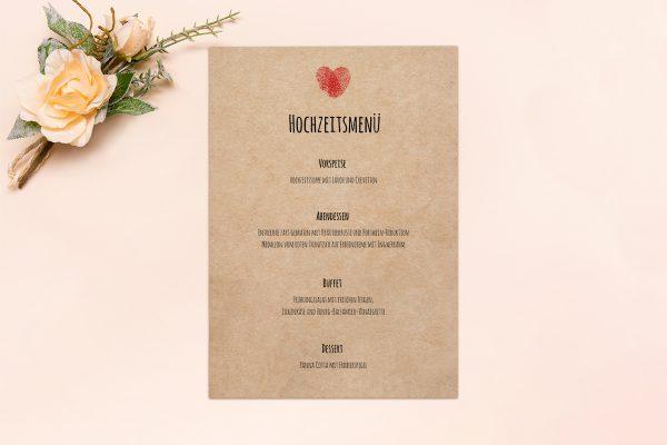 Extras Fingerabdruck Liebeserklärung Menükarten