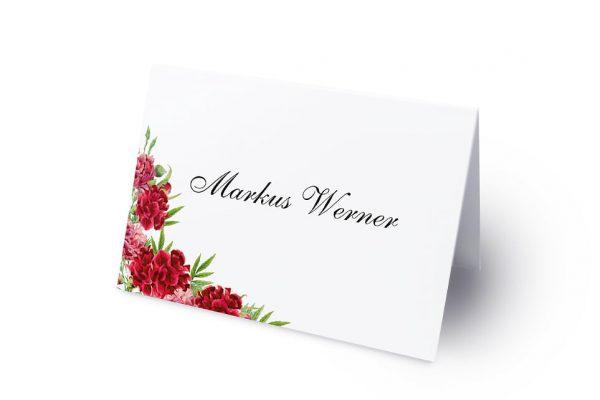 Extras Blumenherz Nelken Namenschilder & Tischkarten Hochzeit