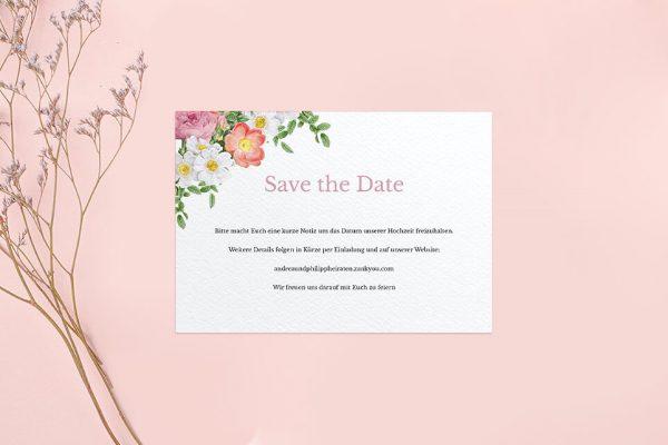 Save the Date-Karten Blumenbeet Apart Save the Date Karten