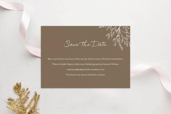 Save the Date-Karten Aufnahme mit stilisiertem Kranz Save the Date Karten